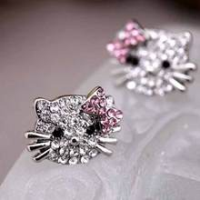 ALIUTOM Lovely Silver Plated Small Cute Hello Kitty Earrings For Girls Charm Crystal Turkish Jewelry Brincos Children Earings