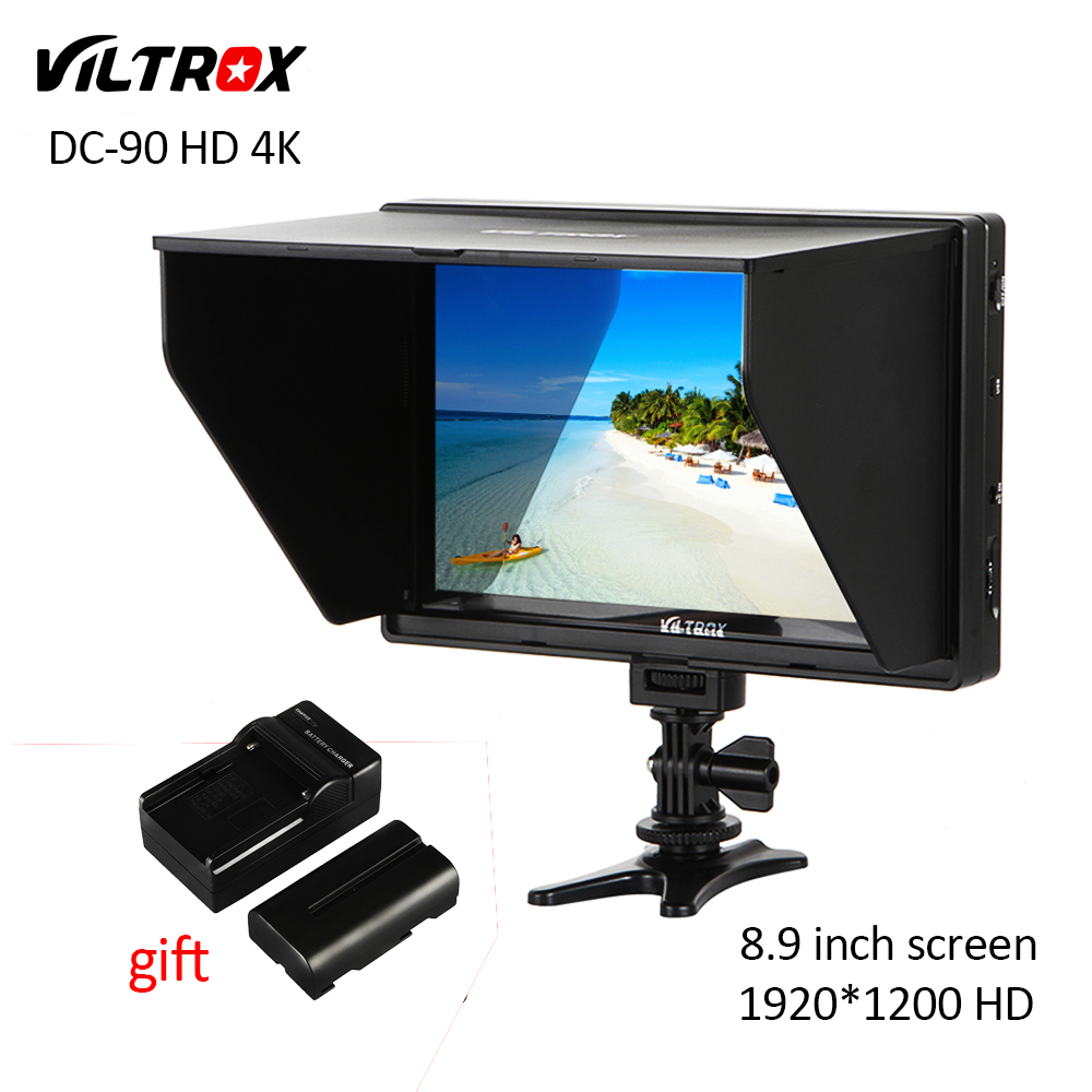 Viltrox DC-90 HD 8.9'' LCD HDMI AV Input 4K Camera Video Monitor Display+Battery+Charger for Canon Nikon Sony Fuji DSLR BMPCC