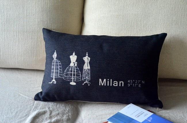 Milan pillow cover, Creative cartoon word milan waist pillow case pillowcase No Core