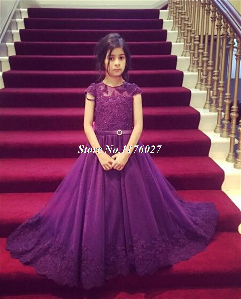 Dark Purple Flower Dresses For Weddings Cap Sleeve Liques Sequins S Pageant Gowns Kids Communion Dress Ag37 In From