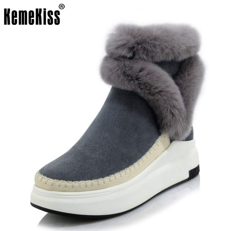 KemeKiss Women Real Leather Thick Fur Snow Boots Women Thick Platform Zip Booties Women Warm Plush Winter Botas Size 34-39 kemekiss women warm plush warm snow boots for women thick platform ankle botas female thick fur winter footwear size 36 40