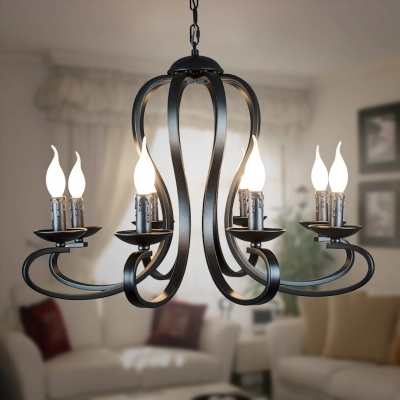 Nordic American coutry style modern candle Chandelier lighting Fixtures Vintage white/black wrought Iron Home Lighting E14Nordic American coutry style modern candle Chandelier lighting Fixtures Vintage white/black wrought Iron Home Lighting E14