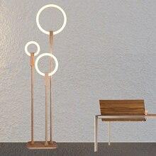 Iluminación LED nórdica sala de estar de pie para luces de suelo modernas iluminación del hogar acrílica, accesorios de decoración de madera, lámparas de pie para dormitorio