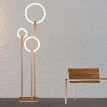 Nordic LED woonkamer staande verlichting Moderne vloer verlichting Acryl thuis verlichting Houten deco armaturen slaapkamer vloer lampen