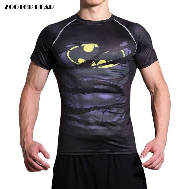 Batman T-shirts Compression T shirts Men Fitness Tops Funny Short Sleeve Summer Tees Male Fashion Bodybuilding 2017 ZOOTOP BEAR