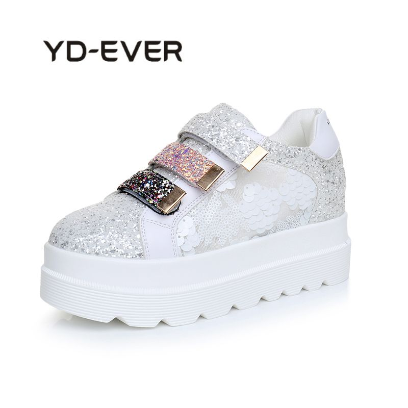 YD-EVER Summer Style Women Shoes Hidden Wedge Heels Shoes Elevator Bling Shoes Casual Shoes For Women Colorful Platform