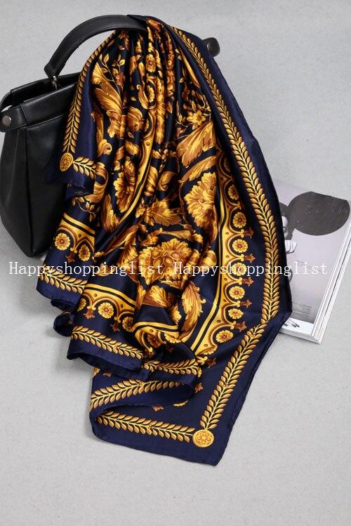 Elegante marca hecha a mano 100% crepe satén seda liso 110 cm bufanda - 5
