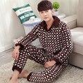 Chegada nova Moda Acolchoado Conjuntos de Pijama Dos Homens Sleepwear Inverno Set Lounge Super Macio Três Camada de Coral de Lã Grossa Jaqueta Acolchoada