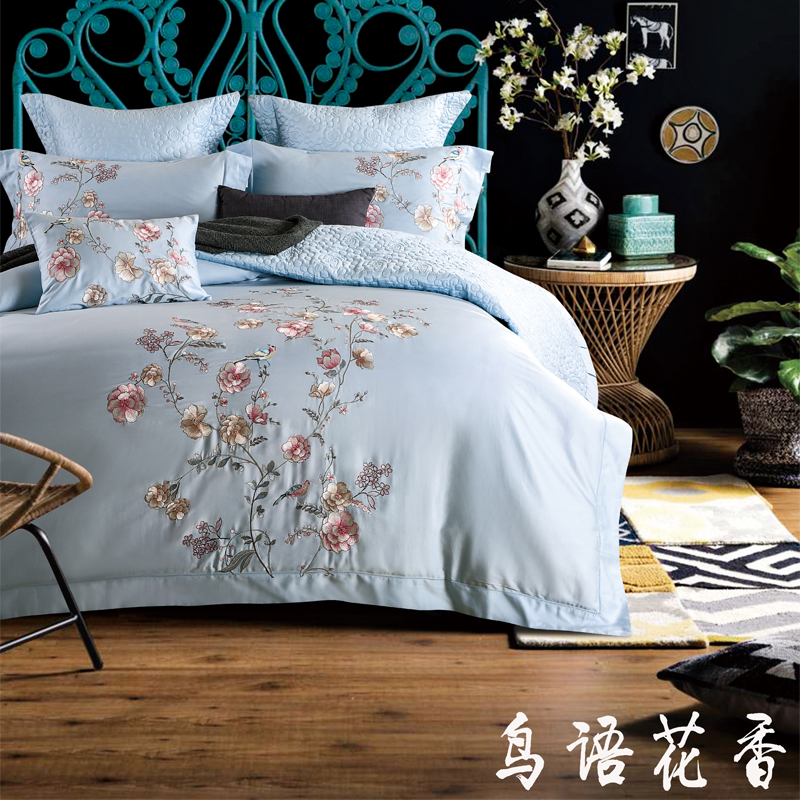 Luxury Egyptian Cotton Floral Embroidery Bedding Set Soft