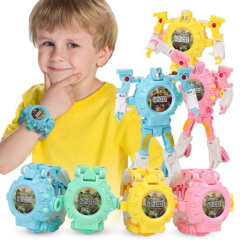 Kids Toy Creative Trasformation Wristwatch Toy Child Sports Cartoon Watche Boy Robot Transformation Distortion Kid Education Toy