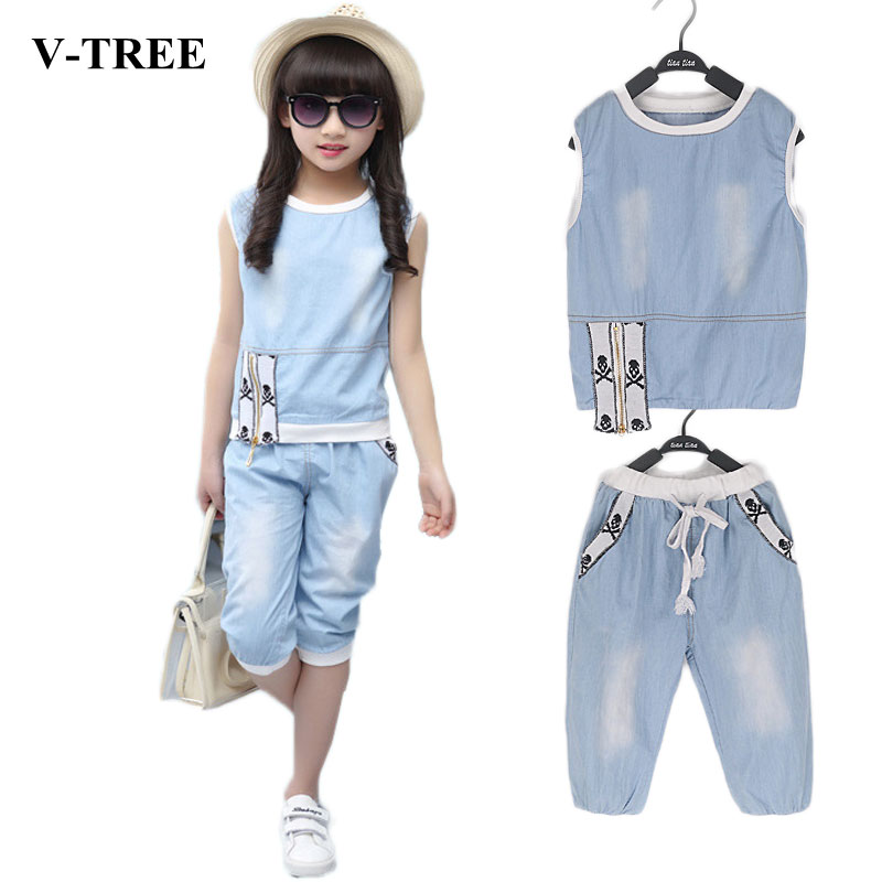 Summer Girls Clothing Set O-neck Sleeveless Shirt+shorts Clothes Sets For Girls Teenager Sports Suits Denim Kids TracksuitSummer Girls Clothing Set O-neck Sleeveless Shirt+shorts Clothes Sets For Girls Teenager Sports Suits Denim Kids Tracksuit