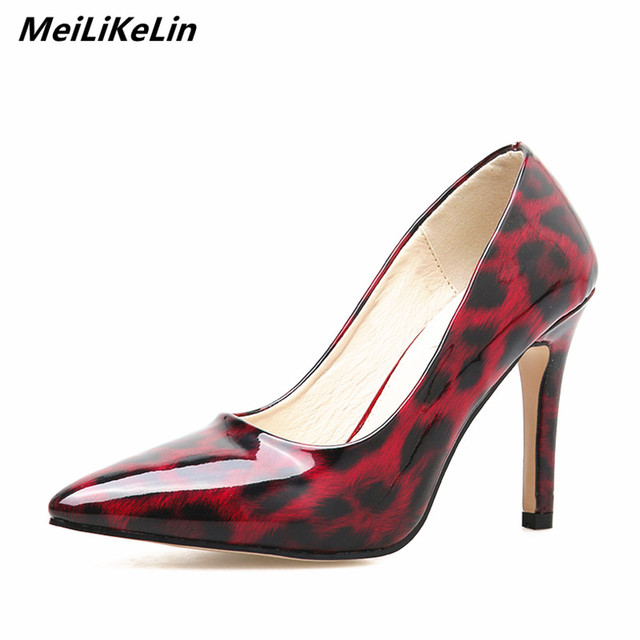Meilikelin Ladies Pumps Sexy Wine Red Leopard Shoes High Heeled Women Pumps Point Elegant Party Shoes Stiletto Heels Summer