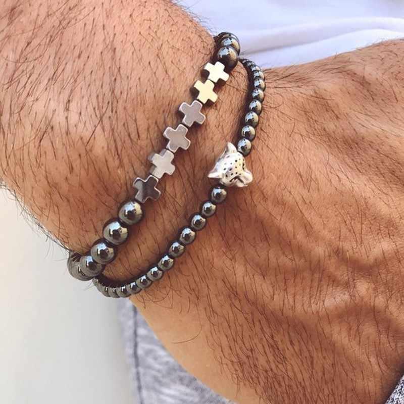 """מינימליסטי 4 מ""""מ טבעי אבן חרוזים המטיט צמיד קסם כתר/נמר/אריה/צלב עיצוב צמיד לגברים צמיד תכשיטים"""