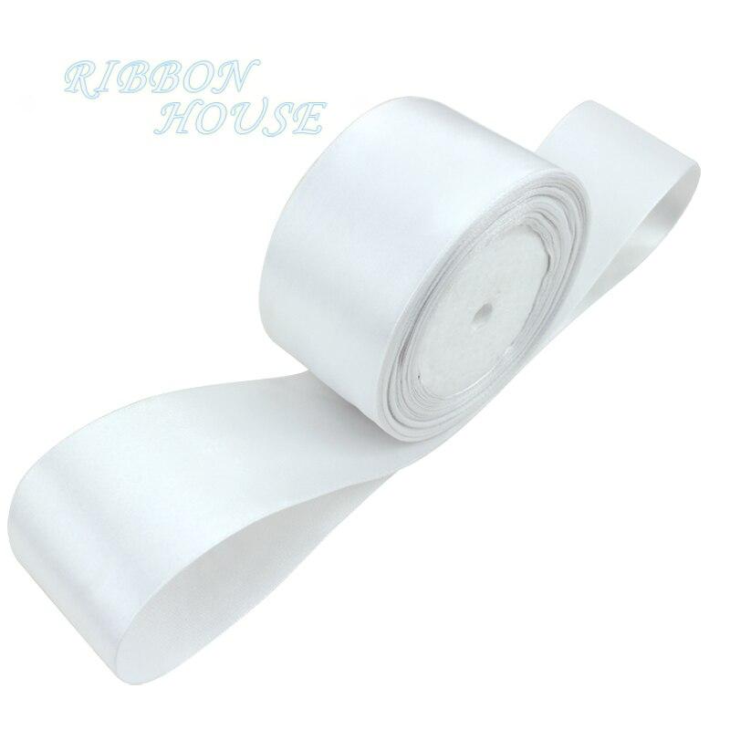 (25 ярдов/рулон) 2 »50 мм белый одно лицо атласная лента лямки украшения подарок на Рождество лентами