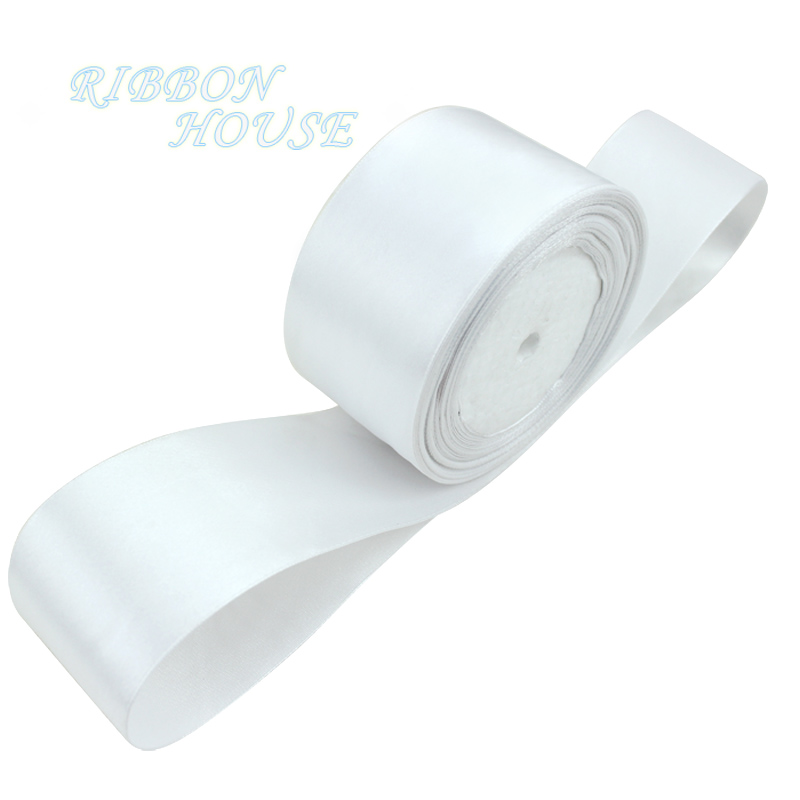 (25 yards/roll)  2'' 50mm White Single face satin ribbon webbing decoration gift Christmas ribbons