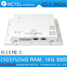 White Color 1037u processor Windows linux Industrial Touch Screen all in one pc,business desktop computer 4G RAM 16G SSD(China (Mainland))