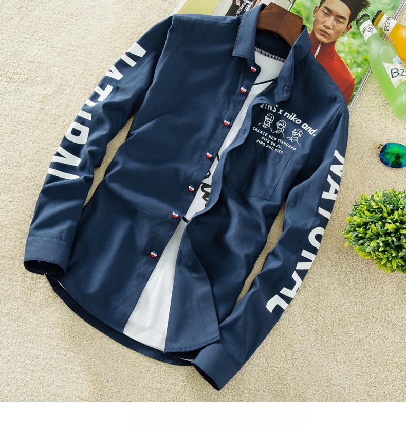 YAUAMDB men shirt 2017 autumn winter size M-4XL cotton male letter long sleeve shirt slim casual turn-down collar clothing y43 13