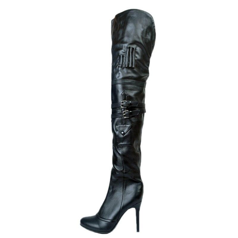 Alto Boda Lock Oversize Delgados Maduro Bombas Mujeres Hebillas Zapatos De Overknee Invierno Talón Las Negro Pic 2018 As Pu Caliente Lujo Tacones OZT0qHW