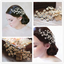 Dower me New Pretty Flower Bridal Hair Comb Crystal Gold Veil Tiara Handmade Wedding Prom Accessories Hair Jewelry