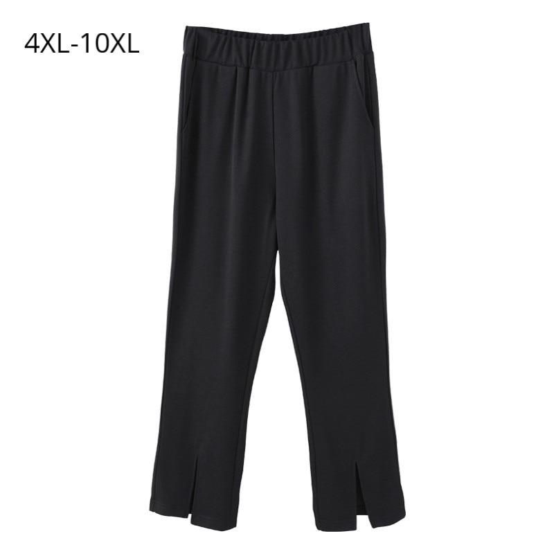 Plus Size 10XL 9XL 8XL 4XL Women Spring Ankle-length   Pant   Fashion Women High Waist Elastic Loose   Wide     Leg     Pants   Black Trousers