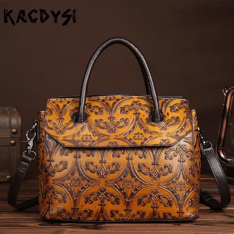 KACDYSI Handmade Manunal Cowhide Leather Brush Color Vintage Women Handbag Embossed Unique Casual Shoulder Bag Fashion