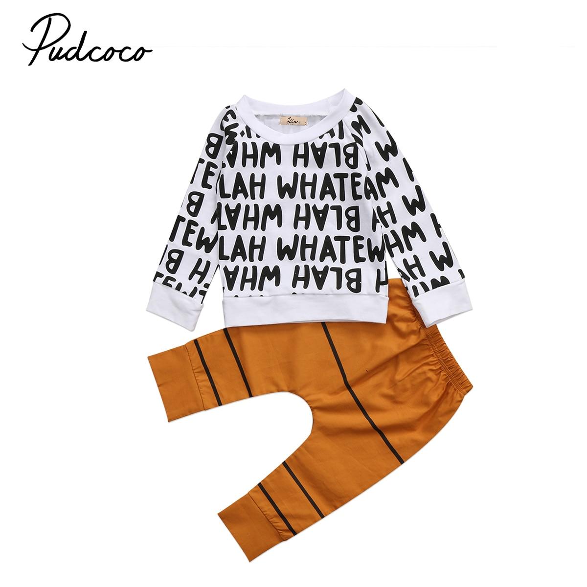 Комплект из 2 предметов детской одежды топы с надписями Детская футболка с длинными рукавами для маленьких мальчиков однотонные штаны Для м...