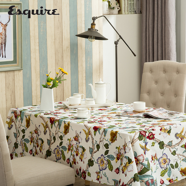 ESQUIRE White Cotton Fabric Dining Table Cloth Bird Flowers Pattern Home  Tablecloth Rectangle Or Square Restaurant