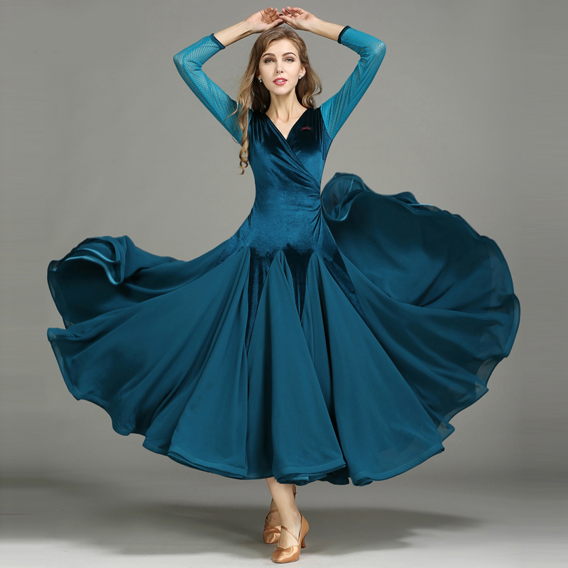 Picture of 3 Colors Ballroom Dance Competition Dresses Dance Ballroom Waltz Dresses Dancing Waltz Modern Dance Dress Latin Ballroom Dress