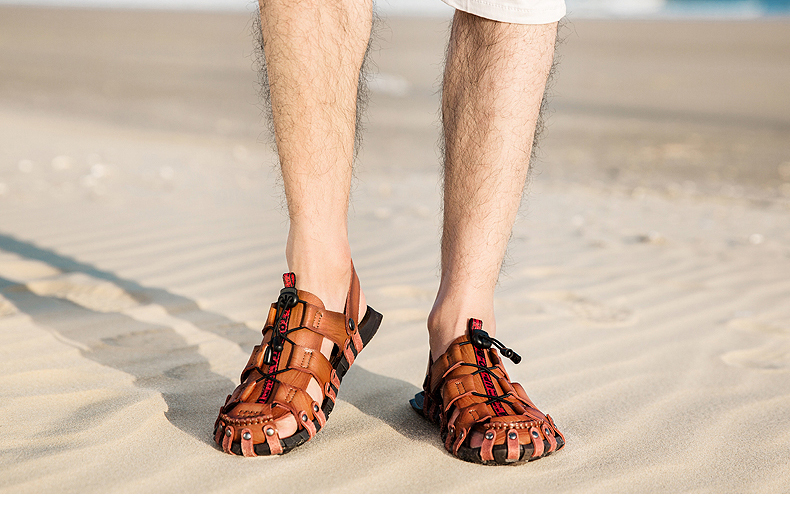 25bf7452996f21 2019 New Sandals Men Shoes Closed Toe Khaki Beach Lightweight Slippers  Sandals Plus Size Summer Outdoor Shoes zapatos hombre