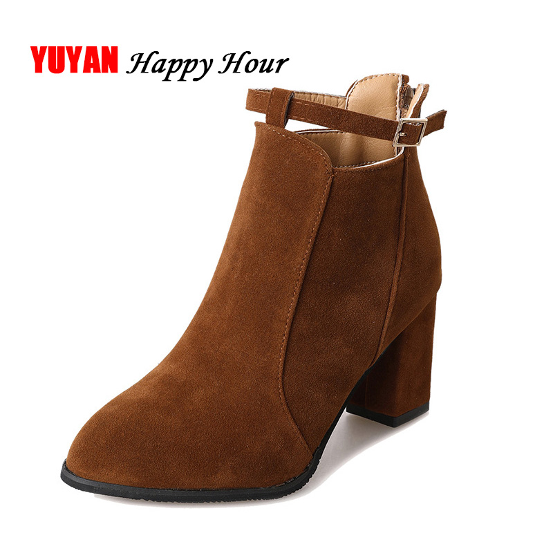 2018 Winter Shoes Women Square Heel Boots Faux Suede Leather Boots Womens High Heels Booties Fashion Ladies Ankle Boots A425 lin king womens faux leather ankle boots platform high heel booties for women fashion buckle winter dress shoes martin boots