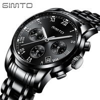GIMTO Business Gold Watch Men Stainless Steel Mens Watches Top Brand Luxury Clock Male Calendar Wrist