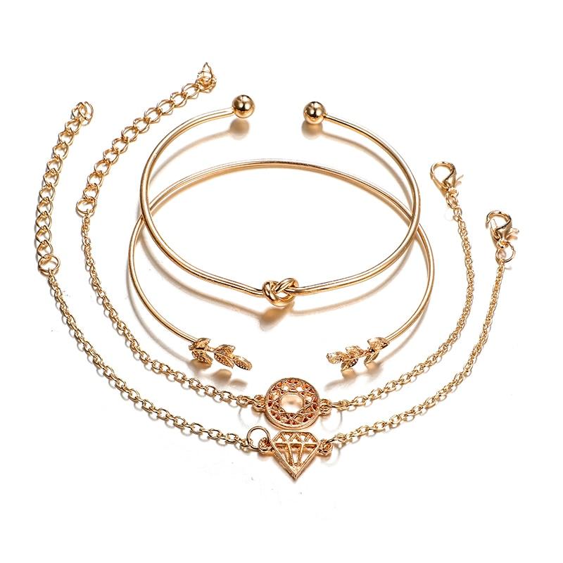 docona-4pcs-1set-Punk-Bracelet-Simple-Geometric-Leaf-Knot-Metal-Chain-Bracelet-Bohemian-Retro-Bracelet-Jewelry