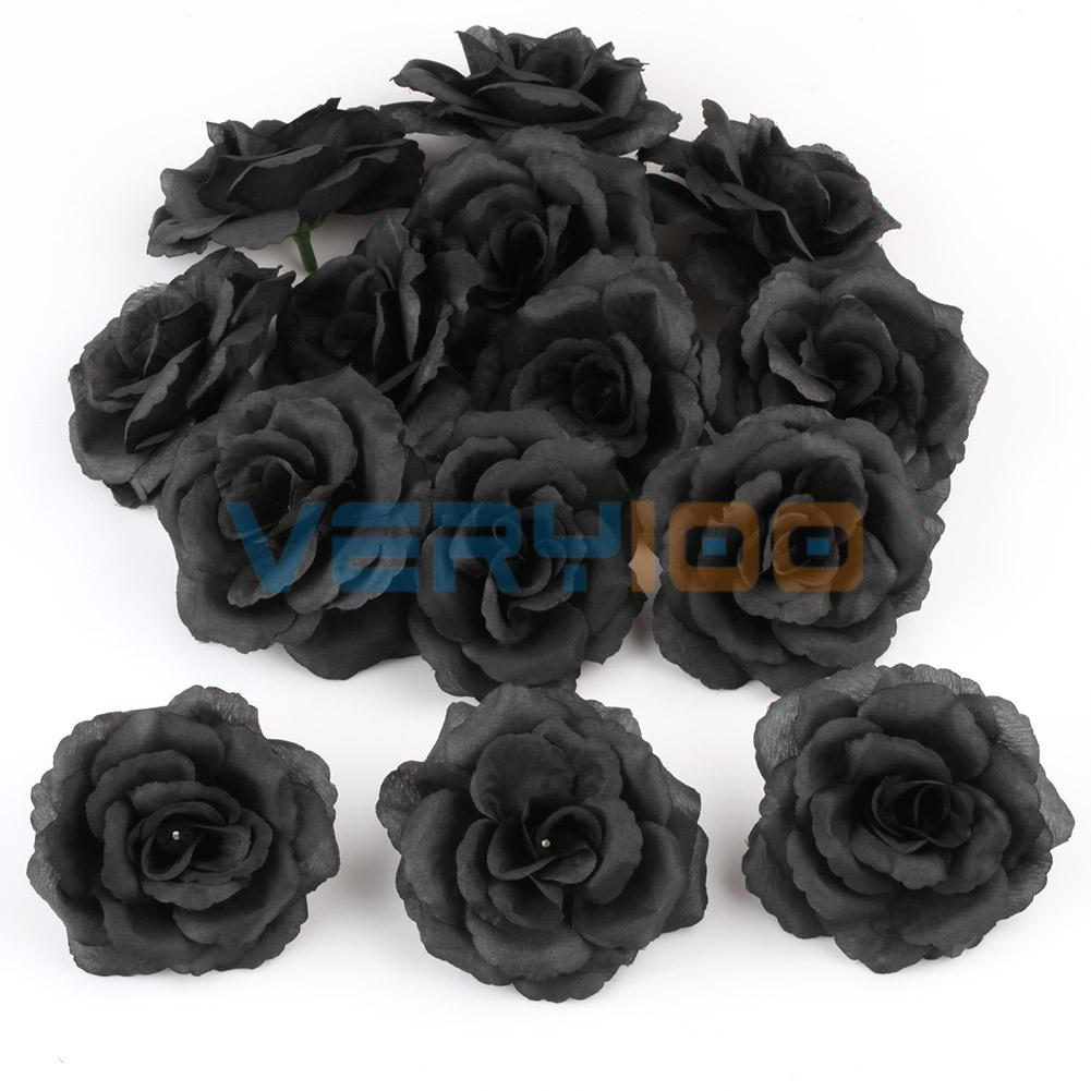 New 20pcs black rose heads artificial silk flower party wedding home new 20pcs black rose heads artificial silk flower party wedding home shop decor diy mightylinksfo Gallery