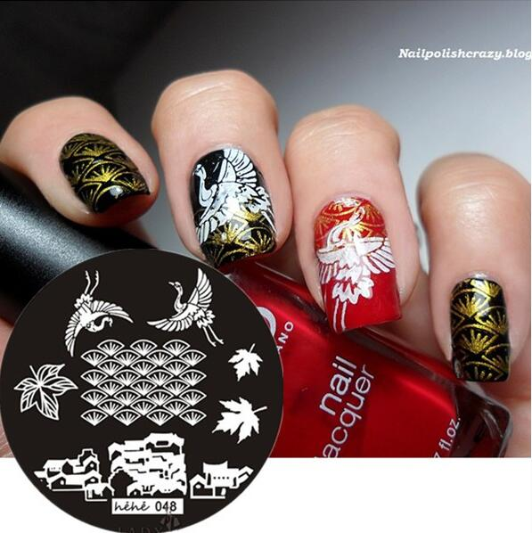 048 Round Nail Art Stamp Stamping Plates Template Crane House Leaves Pavilion Nail Art Stamp Template Image Plate hehe048 in Nail Art Templates from Beauty Health