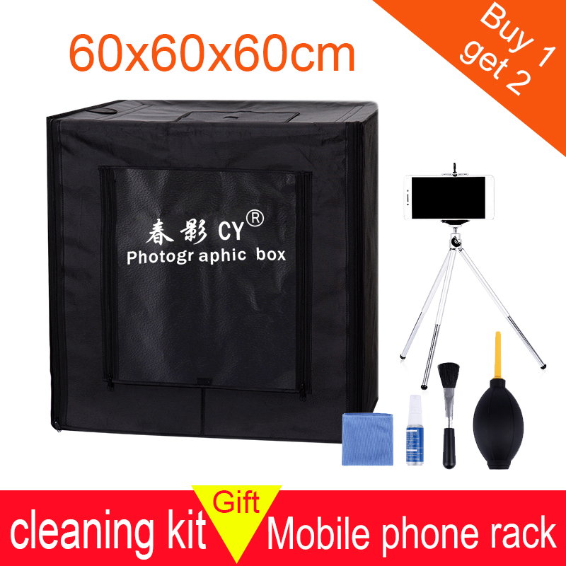 CY 60*60*60cm 24''LED Photo Studio Softbox Light Tent Soft Box +AC Adapter +Backgrounds for Phone Camera DSLR Jewelry Toys Shoes
