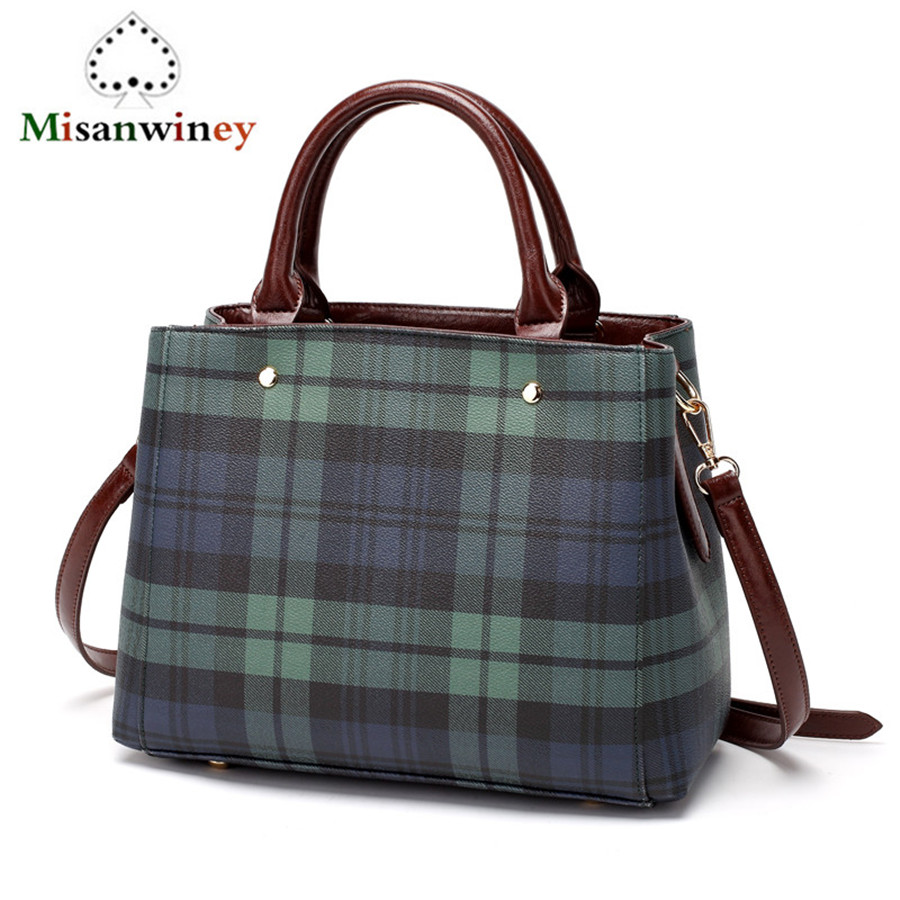 Luxury Ladies Hand Bag Women's Leather Casual Tote Bags Green Blue Plaid Striped Stitching Famous Designer Handbags Shoulder Bag woolen plaid stitching pu leather shoulder bag casual portable rivets tote bag pu handbags stitching woolen large capacity bag