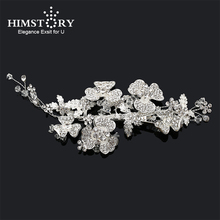 Himstory Silver Color Beaded Floral Wedding Headpiece Hairgrips  Pearls Bridal Hair Jewelry Women Vine Leaf Accessories
