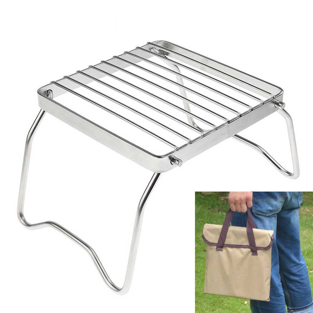 Outdoor Cooking Stove Shelf Protable Grill Holder Mini Foldable Stainless Steel Cooker Stand Durable Camping Hiking BBQ Cook