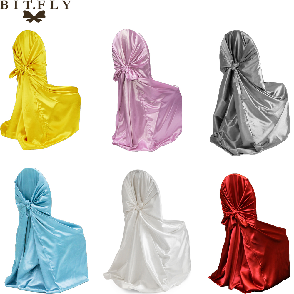 BIT FLY 20pc lot Satin High Quality Wedding Chair Cover 20 Color Self Tie Universal Covers