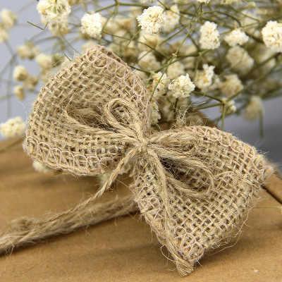 10pcs Bag Simple Jute Bowknot Diy Rustic Wedding Decorations