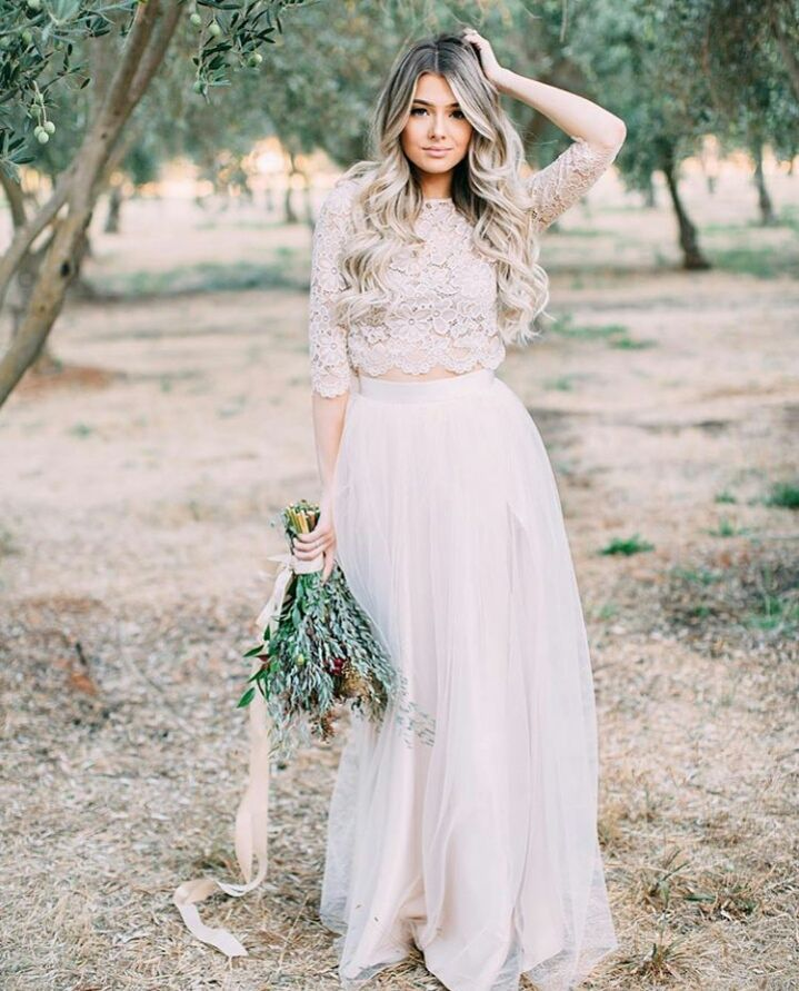 Two Piece Wedding Dress Boho Top Lace Bohemian Wedding Dresses With Sleeves Vintage Country Garden Bridal Gowns Robe De Mariee