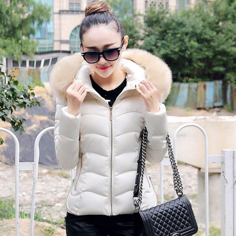 2016 Yeni Kış Kısa Ince Kadın CottonFur Yaka Tüy Yastıklı Ceket Coat Satış Tasarımcı Bayan Palto Pamuk Kapüşonlu Kadın