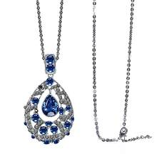 Fashion Women Blue Rhinestone Water-Drop Long Pendant Necklace Sweater Chain  Decor Jewelry Gift 50cc926aa58f