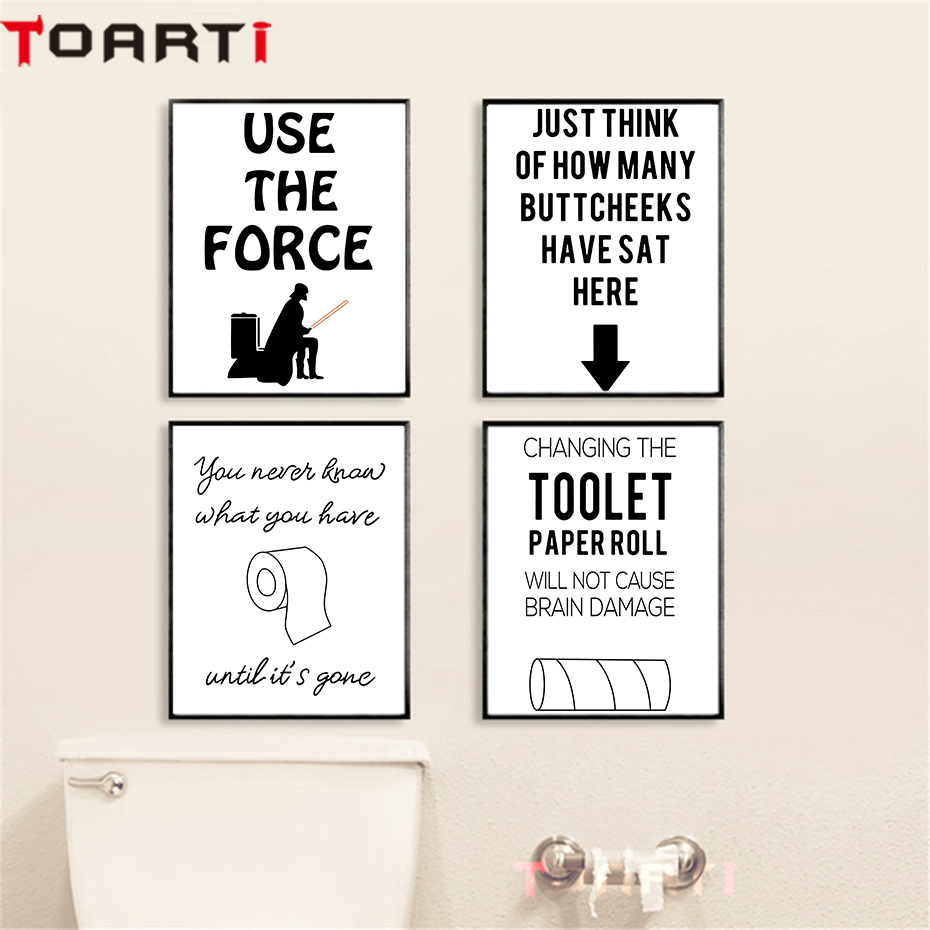 Use The Force Funny Toilet Quotes Canvas Painting Restroom Decoration Washroom Poster And Print Modern Wall Art Picture Murals