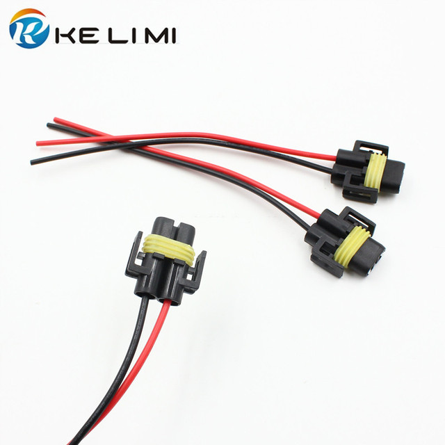 ke li mi 4x car light accessory headlight fog lamp cables socket h4 h7 h8  h11 9005 9006 881 plug extension wiring harness wires