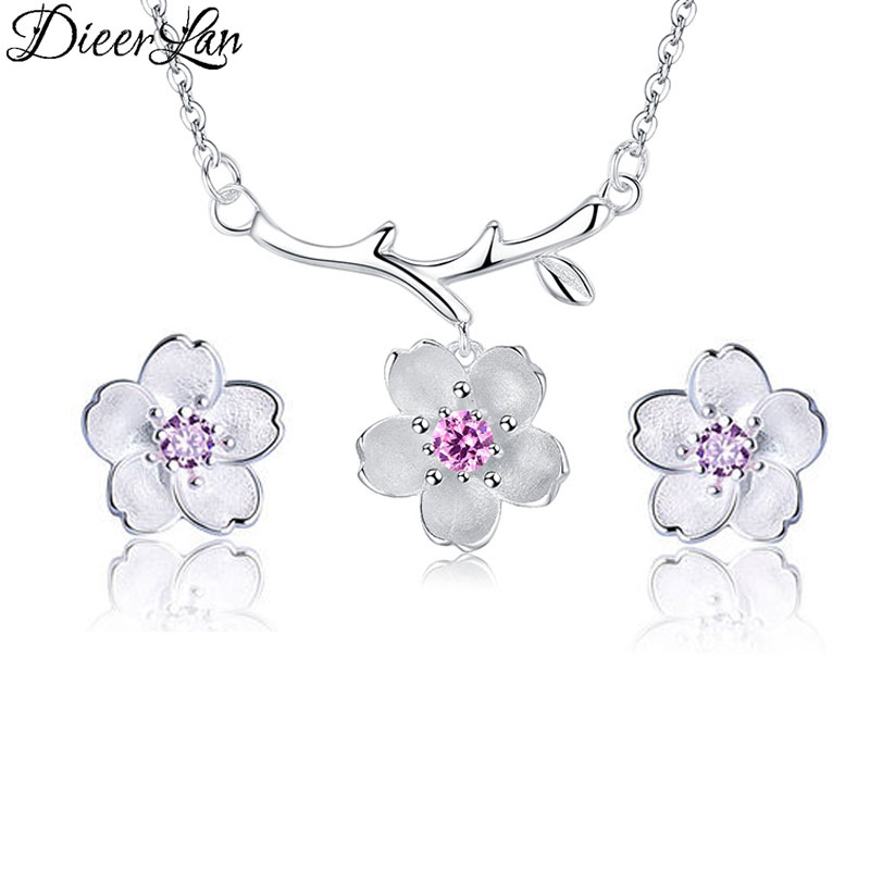 New Arrivals 925 Sterling Silver Cherry Blossoms Flower Necklaces Pendant Jewelry Sets for Women sterling-silver-jewelry