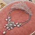 Novo três-piece conjuntos de jóias de noiva atacado coroa de liga de venda do sexo feminino terno do casamento conjunto de jóias