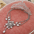 new three-piece bridal jewelry sets wholesale alloy crown  selling female suit wedding jewelry set