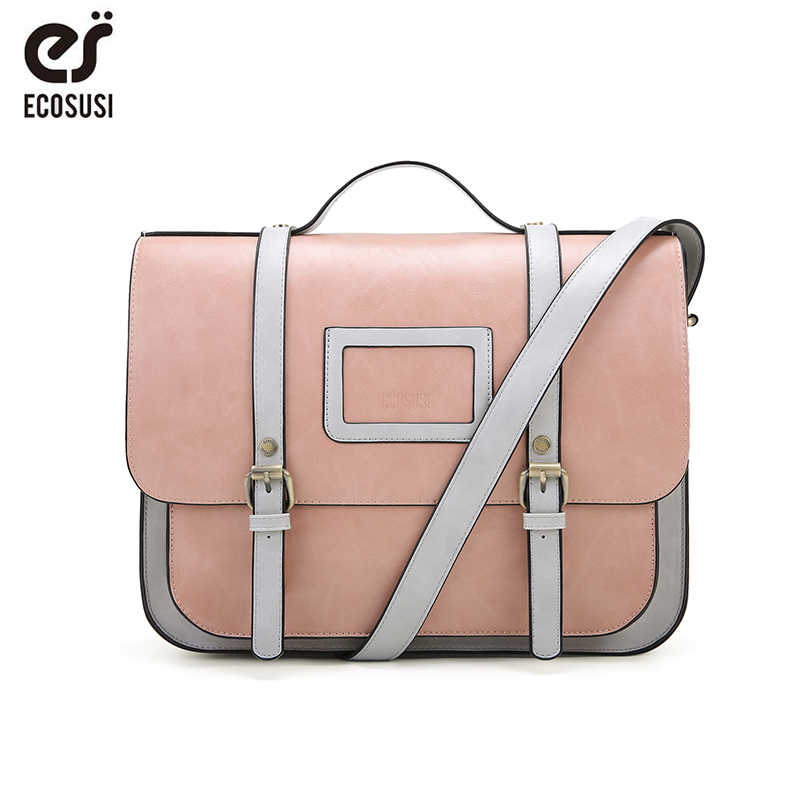 ECOSUSI New Women PU Leather Shoulder Bag Retro Handbag Women 13 Inch Laptop Messenger Bags Vintage Briefcase for Work