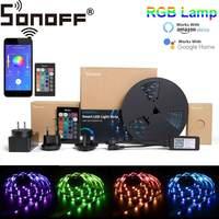 Sonoff l1 2 m 5 m inteligente wifi rgb led luz de tira pode ser escurecido adaptador flexível à prova dwaterproof água app controle remoto de voz com amazon alexa